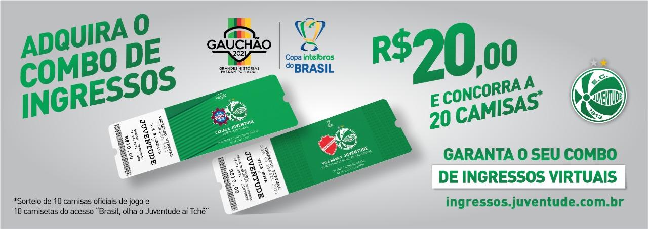 Adquira o combo de ingressos para os jogos contra Caxias e Vila Nova e concorra a 20 camisas do Verdão