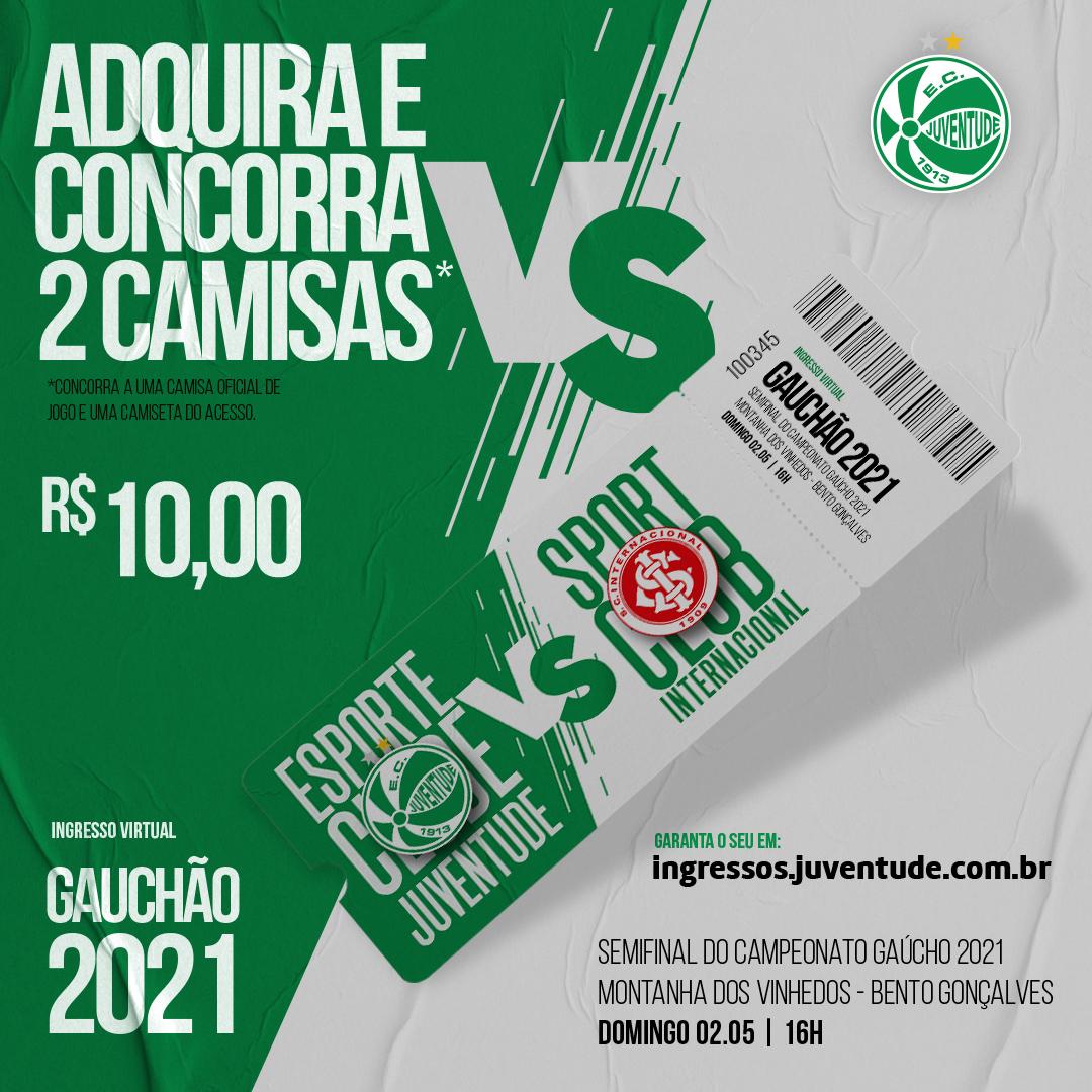 Adquira seu ingresso virtual para a partida entre Juventude x Inter e concorra a duas camisas e um kit exclusivo do Verdão