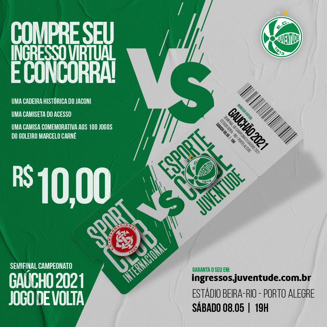Adquira seu ingresso virtual para a partida entre Juventude x Inter e concorra a prêmios exclusivos do Verdão