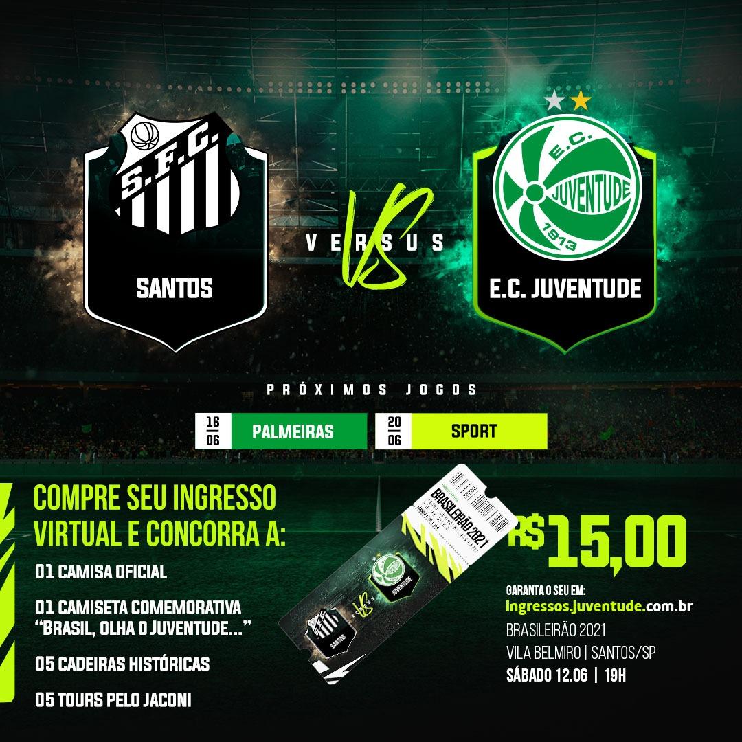 Juventude inicia venda dos ingressos virtuais para a partida contra o Santos